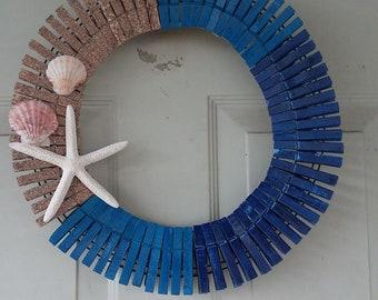 beach theme clothespin wreath