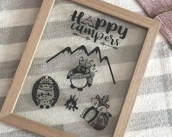 Happy Campers Animal Lovers Camping Family Nursery Decor Newborn Gifts First Birthday Gift Ideas Totoro