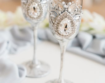 25d64e90b788 Silver toasting glasses Wedding flutes Champagne glasses Champagne flutes  Wedding glasses Silver toasting flutes Personalized flutes