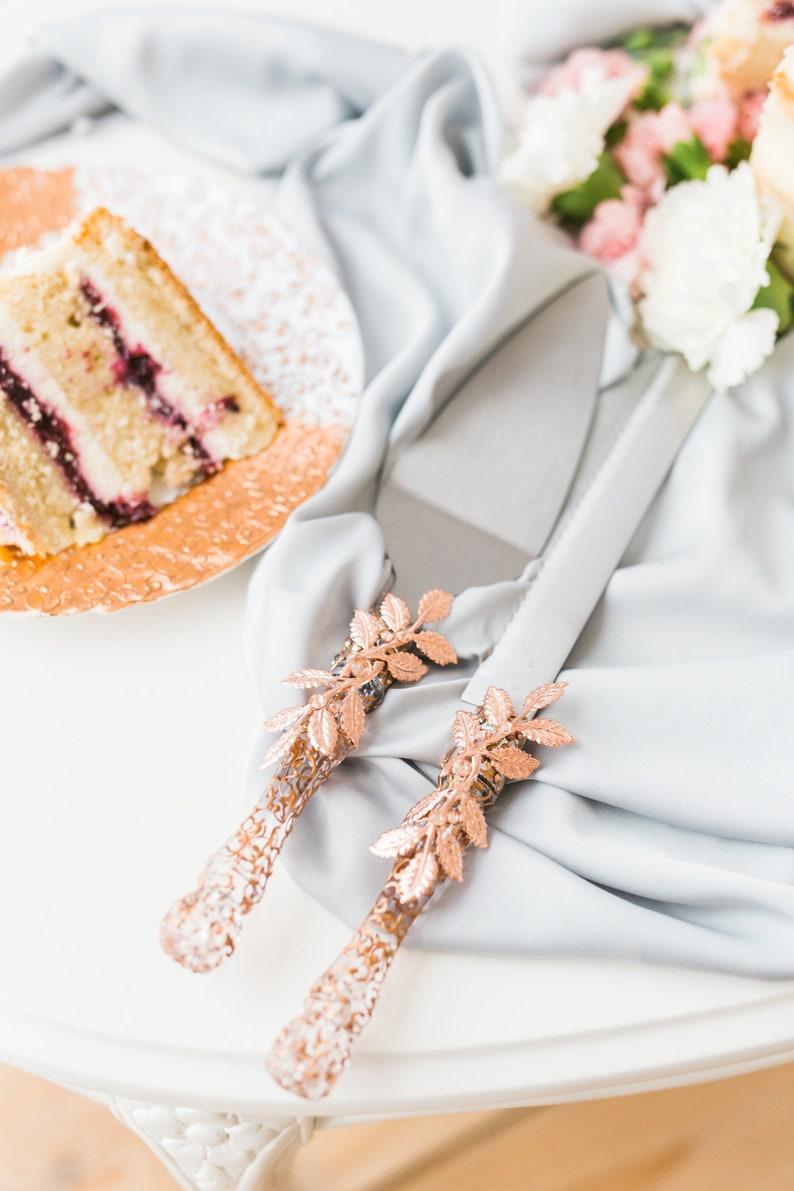Rose Gold Wedding Cake Server Set Metal Leaves Rose Gold Etsy