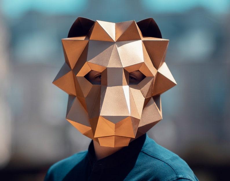 Lion Mask | Paper Mask | Animal Mask | Halloween Costume | Printable Mask |  DIY 3D Mask | Polygonal Mask | Origami Mask | Lion Head