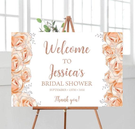 Bridal Shower Decorations Rose Gold Bridal Shower Decor Welcome Sign Bridal Shower Banner Decoration Pink Rose Gold Party Ideas Weddsing2