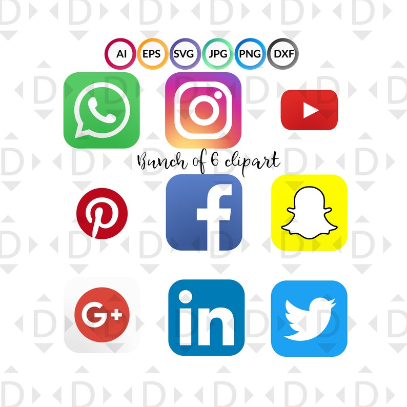 Social icons set for Facebook, Instagram, snapchat,pinterest,Youtube  available in Vector SVG File Ai,Jpg,Svg,Png