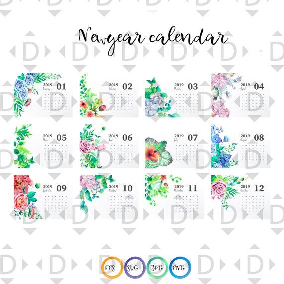 Digital Download Bundles 12 Cliparts Of 2019 Calendar Svg Etsy