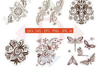 Digital download Henna collection eps, animal eps, mehndi style animal eps, floral henna, floral mehndi  vector Ai,Jpg,Svg,eps,dxf