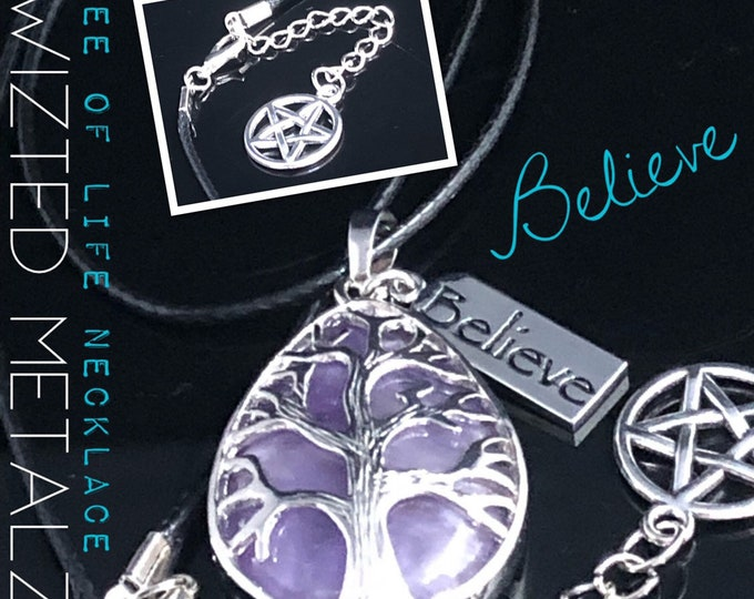 """Featured listing image: Amethyst Teardrop Tree of Life """"Believe"""" Charm Necklace"""