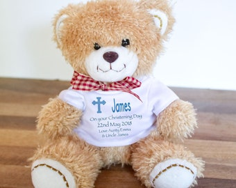 43fd00fc37f Personalised christening teddy bear gift. Christening keepsake gift.
