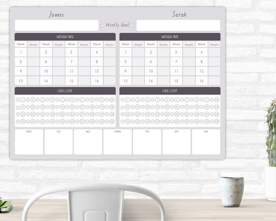 Menu Planner Weight watchers Slimming world Weight loss diary Personalised A3 Couples Weight Loss Tracker Diet Planner