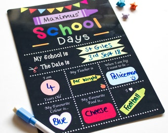 First day of school whiteboard sign, Reusable 1st day of school sign Chalkboard, Kindergarten sign Back to School photo prop board.