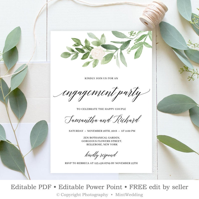 Greenery Engagement Invitation Printable Floral Announcement Template White Florals Rustic Engage Invite INSTANT DOWNLOAD E6