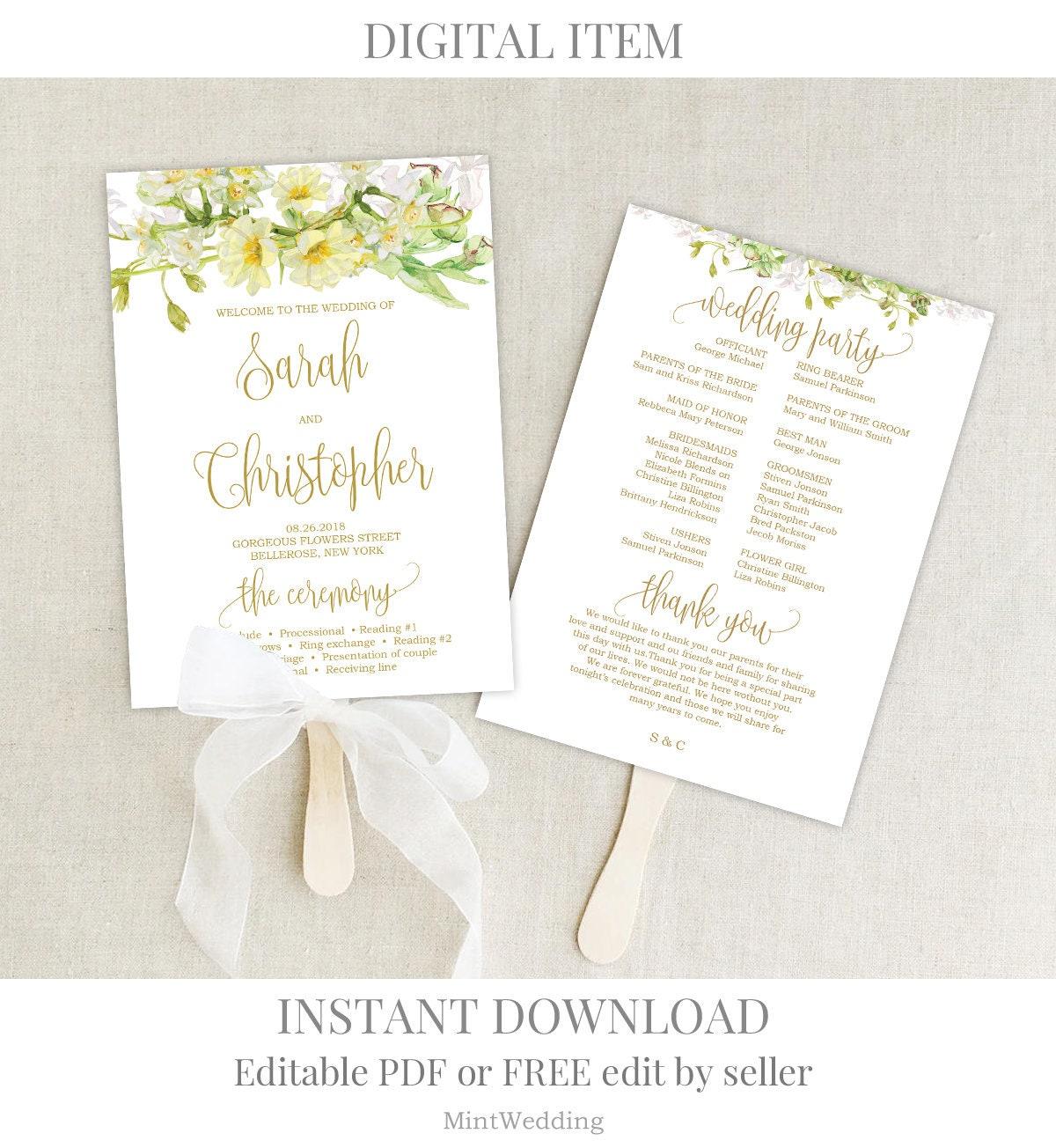 Fan Wedding Program Template from i.etsystatic.com