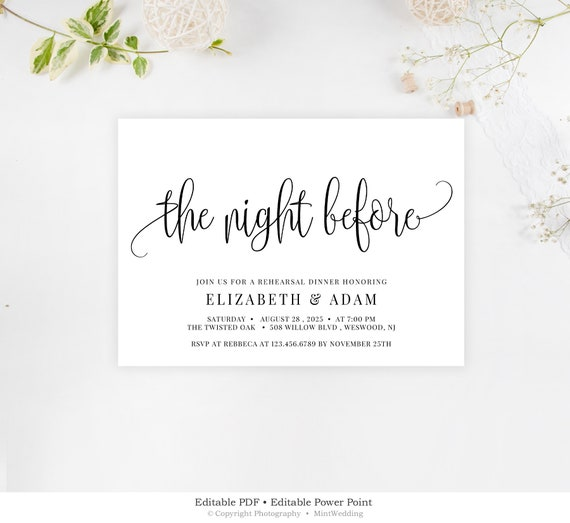 The Night Before Invitation Editable Rehearsal Dinner Printable Template Pre Wedding Party Invite Rustic Rehearsal Dinner Download Rd13