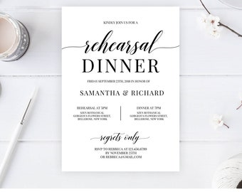 Rustic Rehearsal Dinner Invitation Template, Instant Download, Printable Rehearsal Dinner, Black and White Editable Wedding Invite RD7