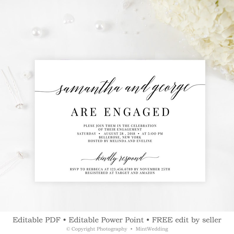 Rustic Engagement Party Invitation Template Engaged Announcement Card Modern Classic Calligraphy Invite INSTANT DOWNLOAD E10