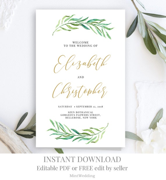 Greenery and Gold Wedding program template Folded Eucalyptus Modern Elegant  Ceremony Leaves printable editable Instant download WP15