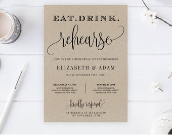 Rustic Rehearsal Dinner Invitation, Instant Download, Printable Eat Drink Reaharse Editable Template Modern Kraft Paper Wedding Invite RD16