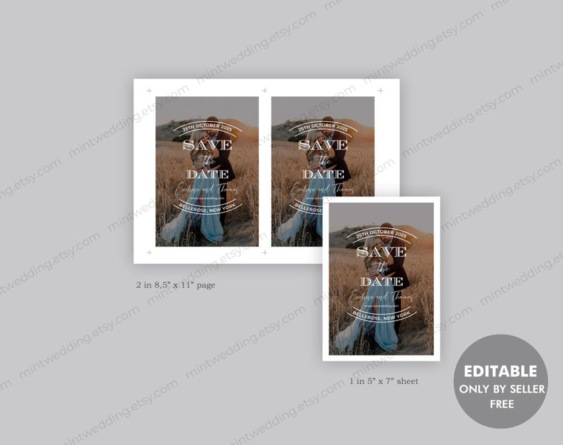 Custom Save The Date INSTANT DOWNLOAD SD31 Save The Date Card Printable Wedding Save The Date With Photo Rustic Save The Date Template