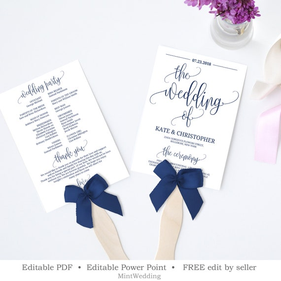 Navy Wedding Program Template, Printable Fan Order of Service, Editable  Rustic Wedding Program, Wedding Ceremony INSTANT DOWNLOAD WP33