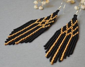 Beaded tassel black matte earrings, Geometric Boho Fringe Native Jewelry, Black and gold long earrings