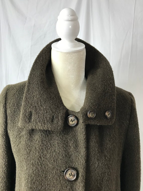 Vintage Harve Bernard Military Green Long Wool Coa