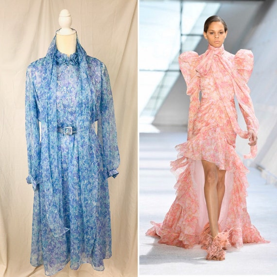 Vintage 70's Nat Kaplan Couture Watercolor Dress w