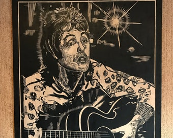 Hand-Made Original Wood Engraving of Paul McCartney