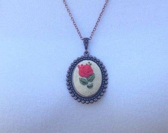 Embroidery jewelry,  hand embroidered necklace, floral necklace, Pendant necklace, embroidered jewelry, Boho necklace, Textile jewelry,