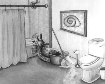 """Pencil Drawing Art Print of """"Slimy Slug Cleaning Service"""" by Bethany Kerr"""