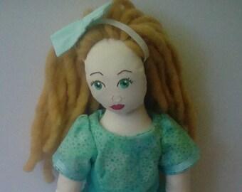 Green Eyes, Blonde Hair, Green and Polka Dot Dress, Handmade Cloth Doll