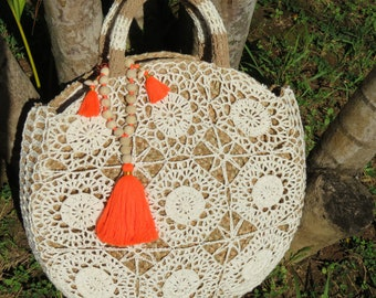 Crocheted Seagrass bag with tassels and beads