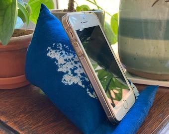 Phone Stand | Original Cyanotype Print | Phone Pillow