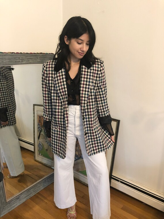 Vintage '80s Oversized Checkered Blazer | 1980s Ov