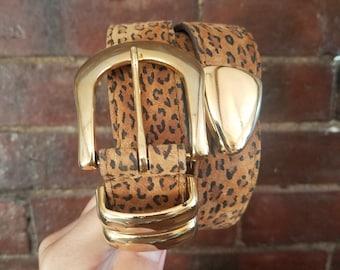 Vintage Cheetah Print Leather Belt (Size M)