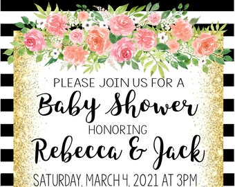 Floral Stripe Baby Shower Invitation