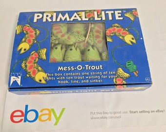 4695d30b6689 Mess-O-Trout String Lights 10 Light 14  String New in Box Vintage 1993
