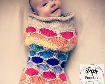Hand Knit Baby Swaddle/Newborn/Swaddle Sack/Baby Cocoon/Photo Shoot