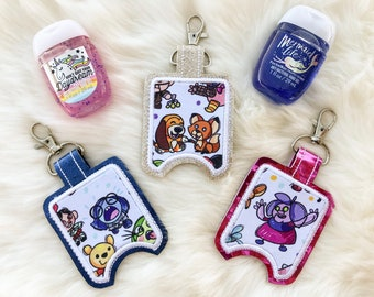 Disney Inspired Hand Sanitizer Holder, Inside Out, Sadness, Fox and the Hound, Madam Mim