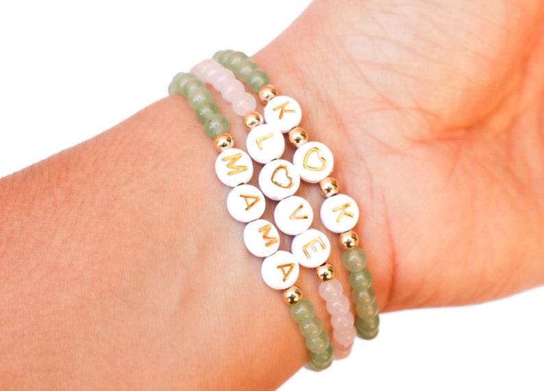 Word Bracelet Initial Bracelet Rose Quartz Jewelry Custom Name Bracelet Rose Quartz Beaded Bracelet Personalized Letter Bracelet
