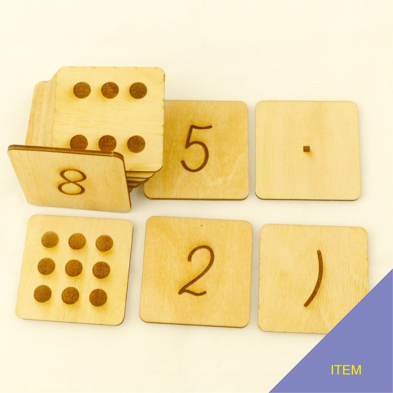 Montessori Atypical autism Hyperactive Homeschooling Math symbols Primary school MNS06 Double face numbers from 0 to 10 Kindergarten