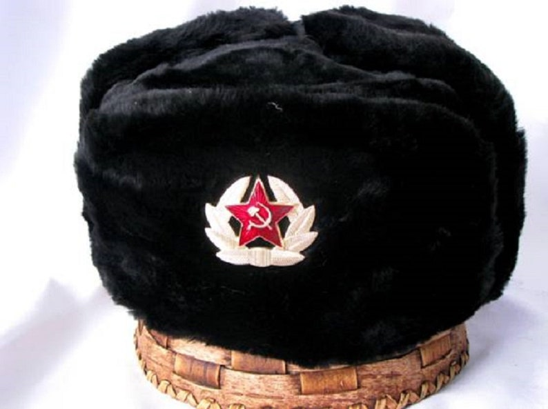 e7a5cfd2cc6 Russian military black winter HAT USHANKA with SOVIET badge