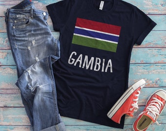 Gambia T-Shirt, Unique Gambia Gift, Gambia Soccer Fan Gift, Gambian Travel Shirt, Country Flag, Nationality, Banjul, Country Pride