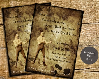 Vintage Bachelor Party Invite - Print your own invitation