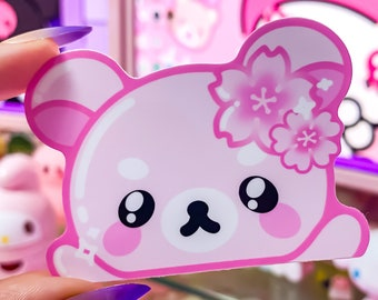 Pink Bear Peeker, Sakura, Glossy Vinyl Sticker, Holographic, Holo, Bear, Kawaii, Japanese, Anime Slap Sticker Laptop Decal, Car Vinyl Decal