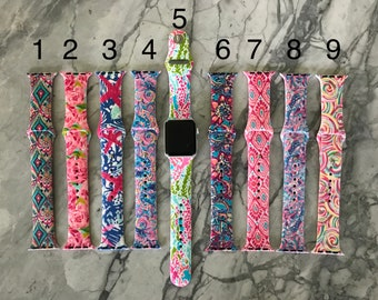 38mm APPLE WATCH BAND Lilly Inspired Personalized Monogrammed Womens, Gift for Her, Mother, Preppy, Sorority - Lily Lila Pulitzer Smart Band