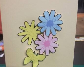 Handmade flower birthday card