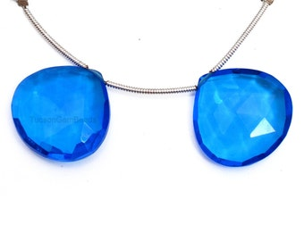 Peruvian Blue Chalcedony Drops Heart Shape 13mm Drilled Beads Matching Pair Faceted Blue Color Drops Perfect For Earrings