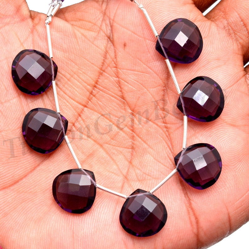 Hydro Amethyst Gemstone Beads Amethyst Briolette Drops to Make Jewelry Faceted Heart Shape Drilled Beads