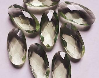 5 Pcs Lot- Green Amethyst Hydro Oval Shape 10x20mm Checker Cut, Loose Gemstone Making Supplies