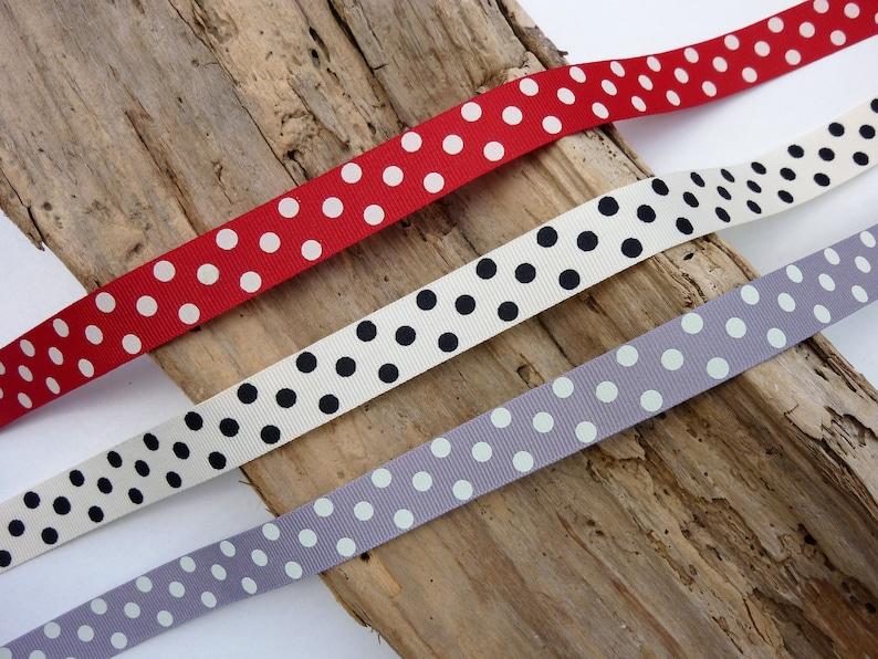 15mm Berisfords White Polka Dot Ribbon Per Metre