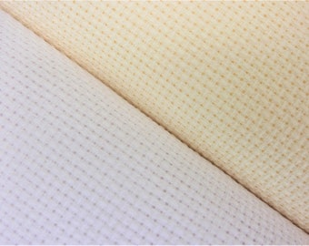 Aida 14 count cotton fabric, cross stitch fabric, white and cream, 25 x 75 cm increments, 15 x 18 inch squares, cross stitch supplies